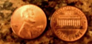 Two copper pennies