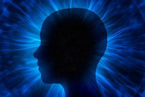 Human head with energy beams